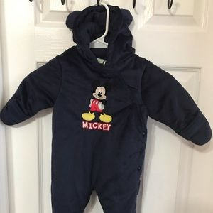 Disney baby hooded fleece one piece 0/3 months